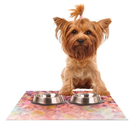 Kess InHouse Nikki Strange blueshed Geometric  Feeding Mat for Pet Bowl, 18 by 13-Inch