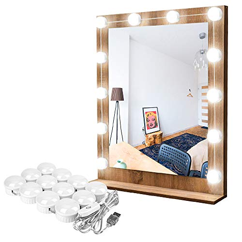 Hollywood String Decorations - Hollywood Style LED Vanity Mirror Lights Kit, Guckmall 12 LED 17.6ft 7000K Dimmable Daylight White Flexible LED Light Strip with Dimmer for Makeup Vanity Table Set in Dressing Room Mirror Not Included