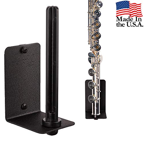 (String Swing Flute Hanger - Flat Wall Holder for all Flutes - Stand Accessories Home or Studio Wall - Musical Instruments Safe without Hard Cases - Durable Black Powder Coated Steel - HH15-FW)