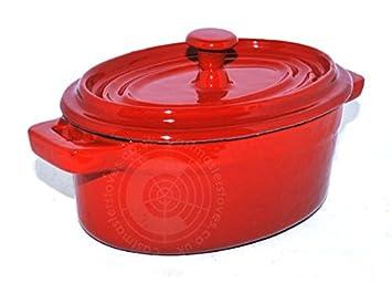 16 cm Oval hierro fundido esmaltado olla barro cacerola con mango y tapa bandeja para horno