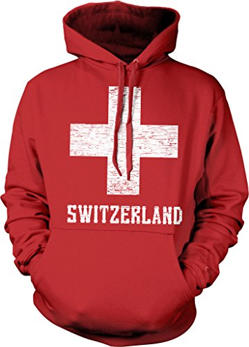Switzerland, Coat of Arms, White Cross, Red Shield Hooded Sweatshirt, NOFO Clothing Co. M Red