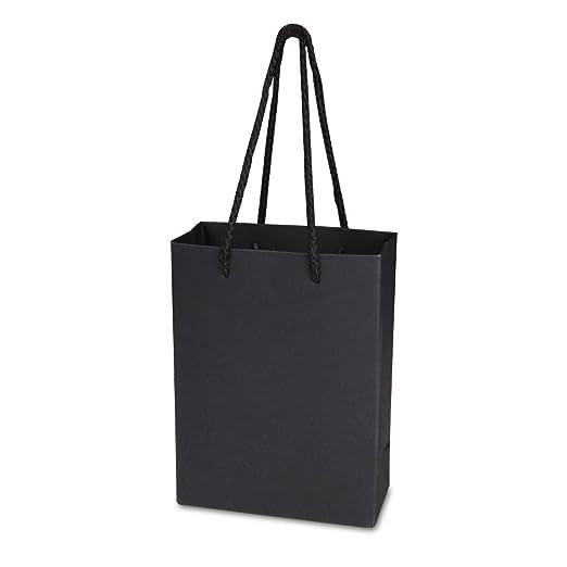 Bolsas de regalo de papel kraft de color negro con asas ...