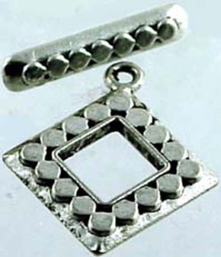 2 Pair Diamond Silver Pewter Toggle Clasps ~Top Qualit~