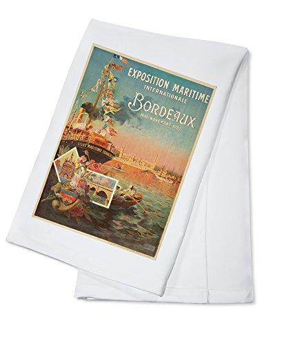 Bordeaux - Exposition Maritime Vintage Poster (artist: Ponchin) France c. 1907 (100% Cotton Absorbent Kitchen Towel) (Bar Bordeaux Towel)