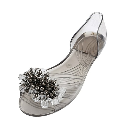 Rhinestone Sandal Footwear Sandals (Dear Time Rhinestones Jelly Flat Sandals Peep Toe Women Summer Slides Transparent black US 7.5)