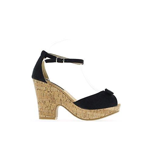 Sandales noires à talon de 10,5cm et plateforme