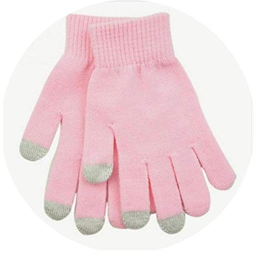 Fashion Solid Knitted Casual Gloves Full Screen Stretch Warm Touch Finger Split Winter Wrist Geometric Unisex,Light Pink,One ()