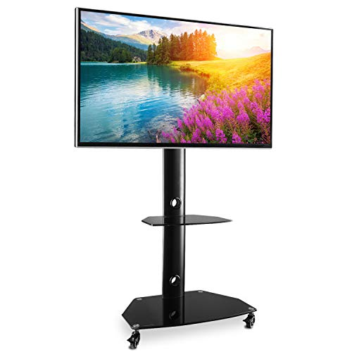 Rfiver Universal Rolling TV Stand Mobile TV Cart with Swivel Mount and Glass Shelves for 27