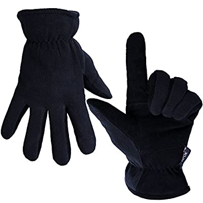 OZERO Winter Gloves, -20°F Cold Proof Thermal Glove - Deerskin Suede Leather Palm and Polar Fleece Back with Heatlok Insulated Cotton Layer - Keep Warm in Cold Weather - Denim/Tan/Gray (S/M/L/XL)