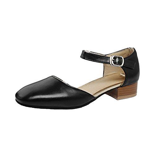 Cuir Noir Femme Pu Chaussures Tire Talon Légeres Couleur À Unie Bas Agoolar 8Cxaw