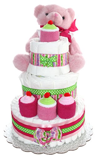 3 Tier Diaper Cake - Pink Teddy Bear Diaper Cake For Girl - Baby Gift For Baby Shower - Teddy Bear Theme - Diaper Cake Is Decorated With Cupcakes Made Out Of Newborn Socks And Washcloths (Pink) ()