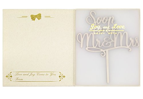 LOVENJOY with Gift Box Soon To Be Mr and Mrs Monogram Rustic Wood Wedding Engagement Cake Topper (5.9-inch) by LOVENJOY (Image #3)