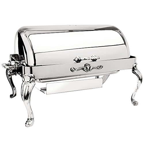 Queen Anne Chafing Dish - Eastern Tabletop 3204QA/SS Queen Anne 8 Qt. Stainless Steel Hotel Grade Rectangular Roll Top Chafer