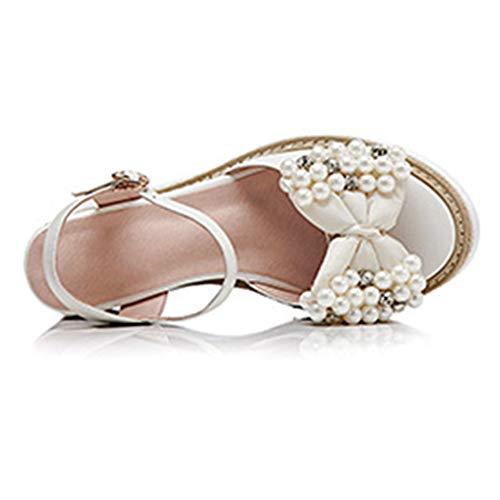 Plein Ouvert Pour Avec Lanières Ouvert Compensées Sandales Femmes 36 En Bout white Été Plateforme À Air Chaussures nSWfq0fx6O