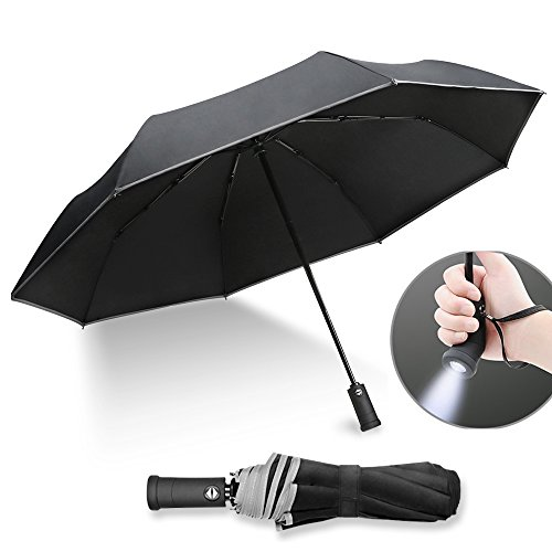 ightweight Compact Travel Umbrella,Supmaker Automatic Open Close Folding Umbrella with 180°Rotating LED Flashlight Handle,8 Ribs Waterproof Windproof Fabric Canopy (Black)