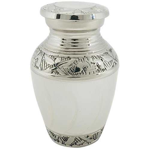 two-4-five Cremation Urns for Human Ashes Keepsake Size White Swirl 3'' Tall
