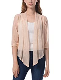 Women's Chiffon Open Front 3/4 Sleeve Cover up Blouse Sheer Shrug Comfortable Breathable Thin Cardigan