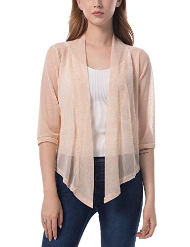 ZHENWEI Womens Tie Front Long Sleeve Blouse Lightweight Casual Outwear Comfy Soft Cardigan Sweater Beige