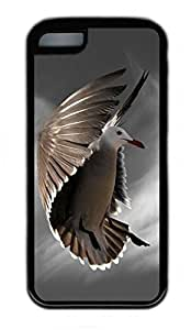 iPhone 5C Case, Personalized Protective Rubber Soft TPU Black Edge Case for iphone 5C - Flying Bird Cover