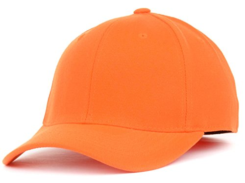 Fitted Orange Cap - Top Of The World By Lids HOME RUN One-Fit Stretch Fitted Blank Baseball Hat Cap (Large/X-Large, Orange)