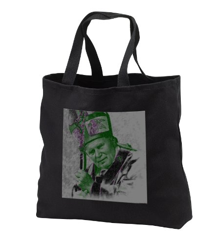 Jos Fauxtographee Realistic - A Picture of The Pope at a Catholic Church in Southern Utah Solarized - Tote Bags - Black Tote Bag JUMBO 20w x 15h x 5d (tb_57367_3) by 3dRose