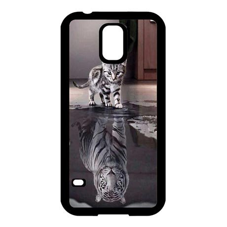 Hard Skin Case Cover Shell for Samsung Galaxy S5 I9600, Cat Or Tiger Phone Slim Carring Cases Funny For Teens