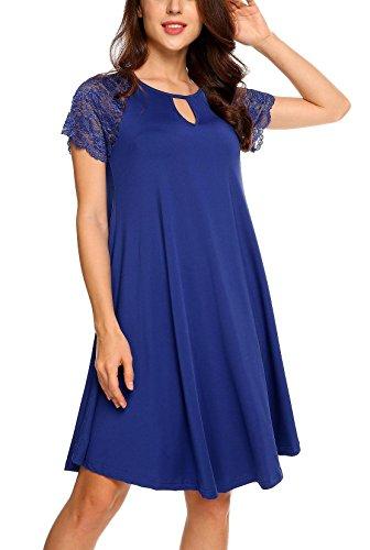 T Lace Loose Bulges Shirt Dress Fit Dark Solid Women Blue Dress Short Sleeve Tunic AwzzBxqY