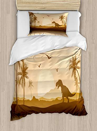 Lunarable Dinosaur Silhouette Duvet Cover Set Twin Size, Monochrome Ancient Landscape Jurrasic Scenery, Decorative 2 Piece Bedding Set with 1 Pillow Sham, Ginger Caramel Pale Peach ()
