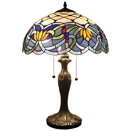 Stained Glass Lotus - Tiffany Table Lamps Blue Lotus Stained Glass Style Shade Zinc Base 2 Light 24 Inch Tall for Living Room Bedroom Coffee Table Reading Desk Beside Reading Set S220 WERFACTORY