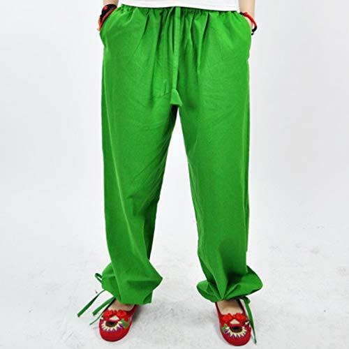 Taille Leggings Loose 1 Confortable Longs Pantalons Casual Lin Jambe Pantalon Pantalon Yoga lgant Fit Large Elastique Vert en Femme PqOPxrBnw