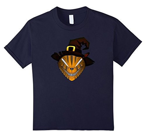 Scary Cat Costume Ideas (Kids Spooky Cat Halloween T-Shirt - Halloween Costume Idea 12 Navy)