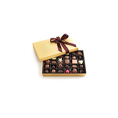 Godiva Chocolatier Assorted Chocolate Gold Gift Box, Wine Ribbon, Great for Gifting, 36 piece