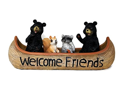 - Rustic Welcome Friends Canoe Black Bears and Woodland Animals Figurine Cabin Decor