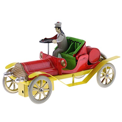 Convertible Collectible (MonkeyJack Vintage Style Wind Up Gentleman on Convertible Car Tin Toys Collectible Gift for Kids Adults)