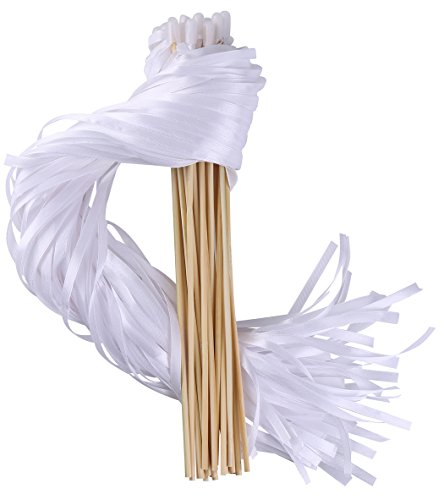 Wishprom Ribbon Wands Sticks Streamers for Wedding Party Favor (White-30PCS)