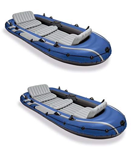 Inflatable Boat Set w/ 2 Oars, Air Pump & Bag (2 Pack) with Ebook