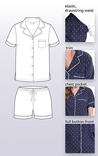PajamaGram So-Soft Pin Dot Womens Pajamas - 2 Piece PJ Set, Navy, Medium 8-10 by PajamaGram (Image #6)