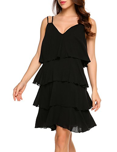 - Zeagoo Women's V-Neck Spaghetti Straps Sleeveless A-Line Tiered Flare Swing Midi Dress Cocktail Party Dresses(Black,M)
