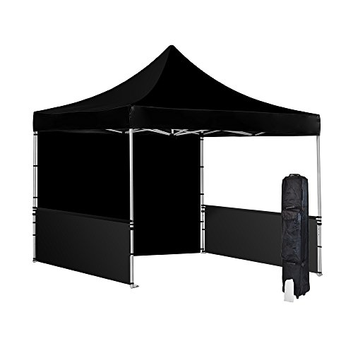 Vispronet 10x10 Black Canopy Tent - Resists Wind Gusts up to 30 MPH - 10ftx10ft Aluminum Frame, Waterproof Canopy Top, 2 Removable Side Walls and a Halfwall, Roller Bag, and Stake Kit