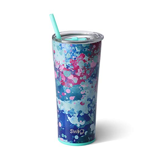 - Swig Life Stainless Steel Signature 22oz Tumbler with Spill Resistant Slider Lid and Reusable Straw in Artist Speckle