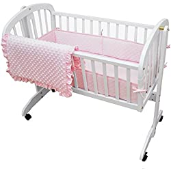 American Baby Company Heavenly Soft Minky Dot 3-Piece Cradle Bedding Set, Pink