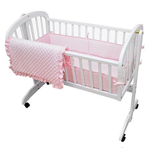 - American Baby Company Heavenly Soft Minky Dot 3-Piece Cradle Bedding Set, Pink, for Girls