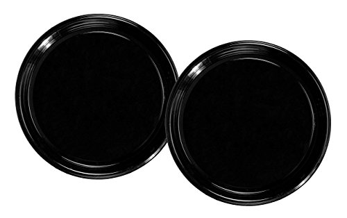 Party Essentials Soft Plastic 12-Inch Round Flat Catering Trays, Black, 3-Pack