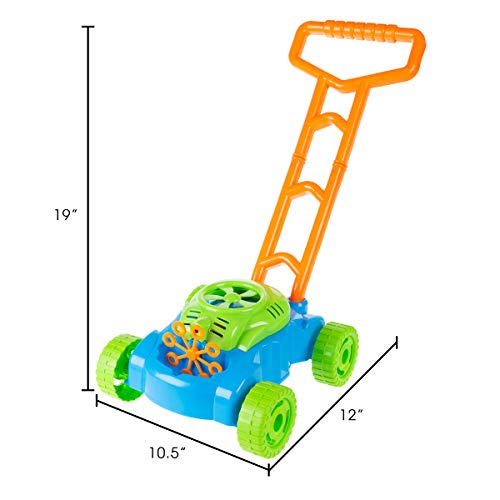 Bubble Lawn Mower- Toy Push Lawnmower Bubble Blower Machine, Walk Behind Outdoor Activity For Toddlers, Boys & Girls by Hey! Play!