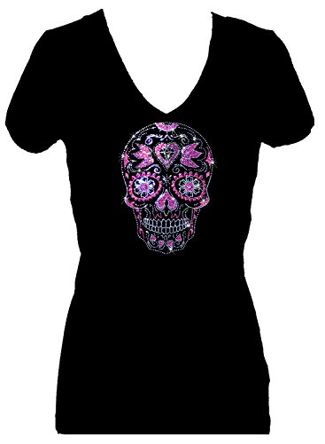 Sugar Skull Day of Dead Rhinestone Womens V Neck Short Sleeve Tee Shirt (1X) Black