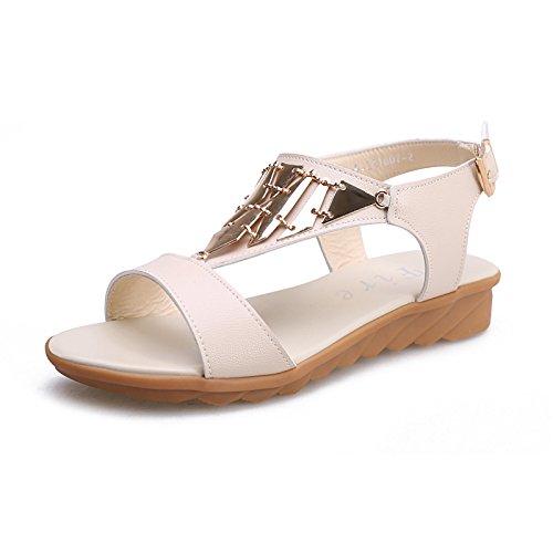 ZPPZZP Ms sandali pantofole flat-bed piana e selvaggio indossando un beige 36EU