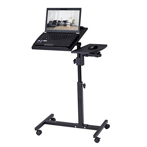 Tangkula Portable Laptop Desk Mobile Adjustable Height Notebook Computer Stand w/ Tilting Surfaces for Right and Left Black (Right Desk Pedestal)