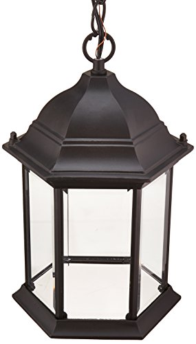 Cast Aluminum Ceiling Fixture - Acclaim 5186BK Madison Collection 1-Light Outdoor Light Fixture Hanging Lantern, Matte Black