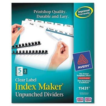 Unpunched Index Maker - - Index Maker Clear Label Unpunched Divider, 5-Tab, Letter, White, 5 Sets