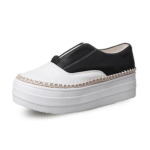 Summerwhisper Women's Casual Contrast Color Elastic Platform Flats Loafers Shoes Low Top Sneakers Black 7 B(M) US